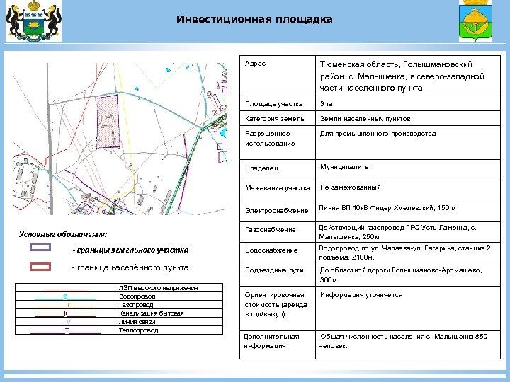 Инвестиционная площадка Адрес Тюменская область, Голышмановский район с. Малышенка, в северо-западной части населенного пункта