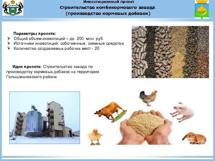 Инвестиционный проект Строительство комбикормового завода (производство кормовых добавок) Параметры проекта: Ø Общий объем инвестиций