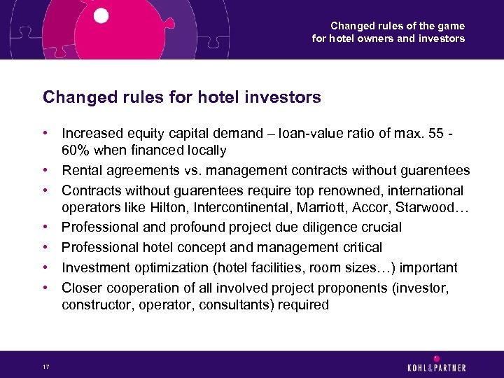 Changed rules of the game for hotel owners and investors Changed rules for hotel