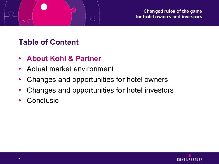 Changed rules of the game for hotel owners and investors Table of Content •