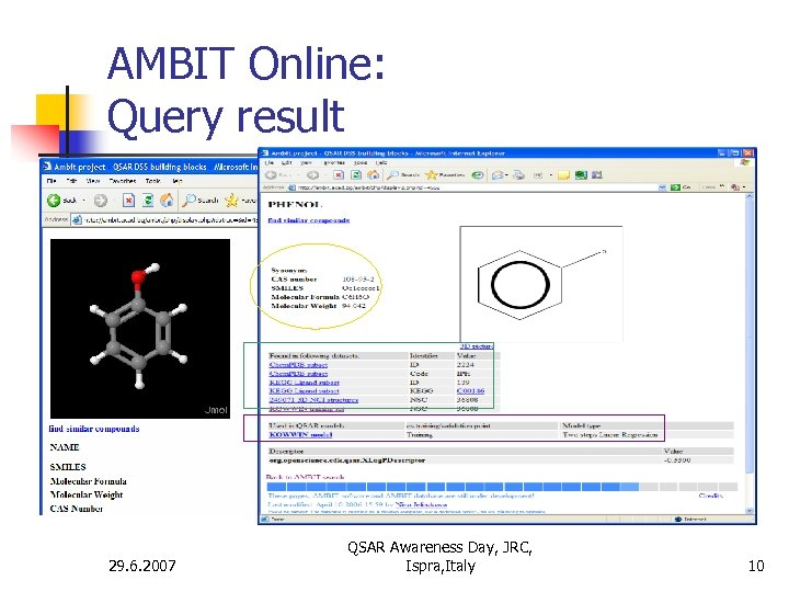 AMBIT Online: Query result 29. 6. 2007 QSAR Awareness Day, JRC, Ispra, Italy 10
