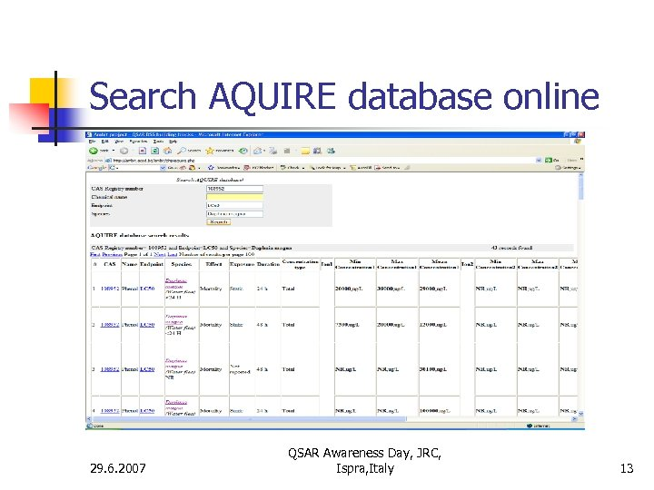 Search AQUIRE database online 29. 6. 2007 QSAR Awareness Day, JRC, Ispra, Italy 13