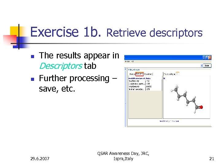 Exercise 1 b. Retrieve descriptors n n The results appear in Descriptors tab Further