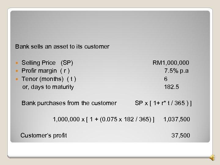 Bank sells an asset to its customer Selling Price (SP) Profir margin ( r