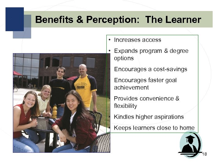 Benefits & Perception: The Learner • Increases access • Expands program & degree options