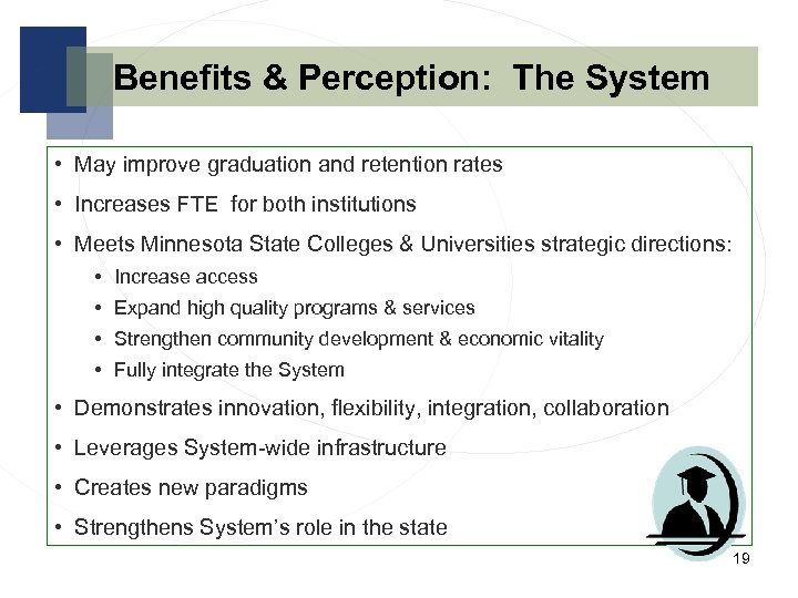 Benefits & Perception: The System • May improve graduation and retention rates • Increases