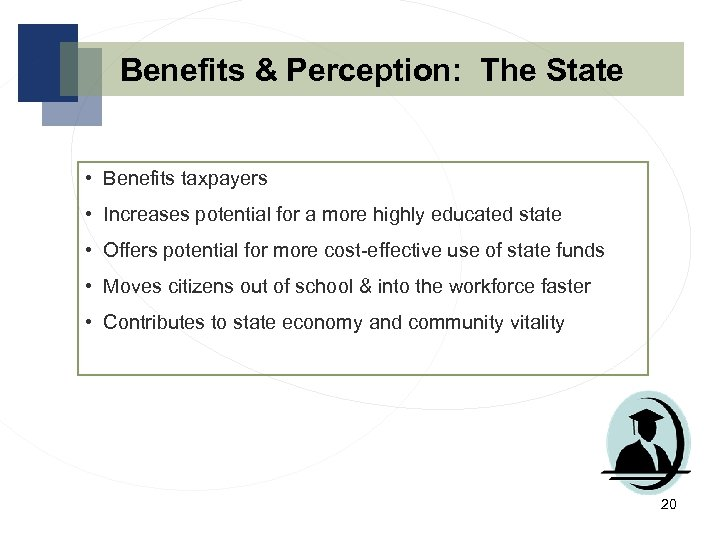 Benefits & Perception: The State • Benefits taxpayers • Increases potential for a more
