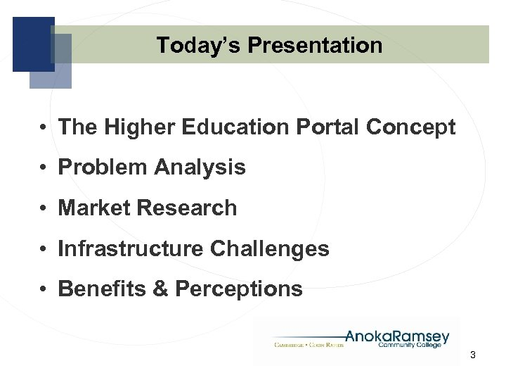 Today's Presentation • The Higher Education Portal Concept • Problem Analysis • Market Research