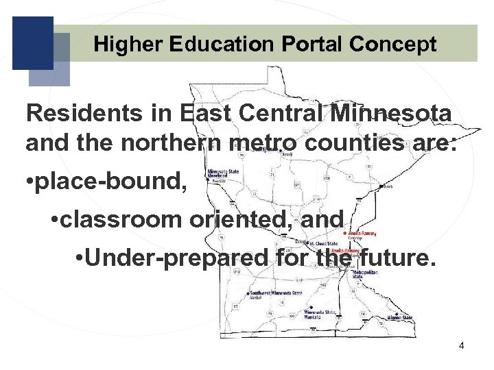 Higher Education Portal Concept Residents in East Central Minnesota and the northern metro counties