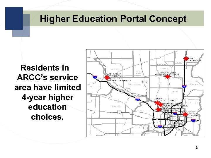 Higher Education Portal Concept Residents in ARCC's service area have limited 4 -year higher