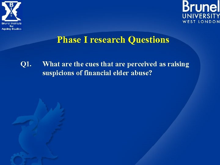 Phase I research Questions Q 1. What are the cues that are perceived as