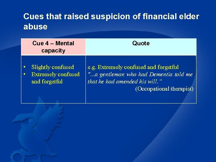 Cues that raised suspicion of financial elder abuse Cue 4 – Mental capacity •