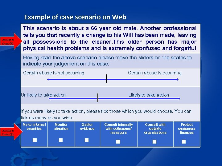 Example of case scenario on Web Analyses from Q 1 This scenario is about