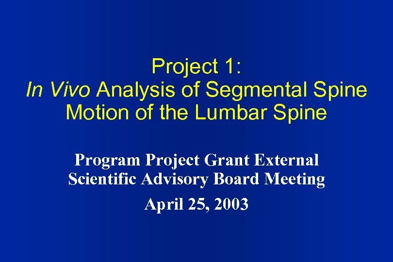 Project 1: In Vivo Analysis of Segmental Spine Motion of the Lumbar Spine Program
