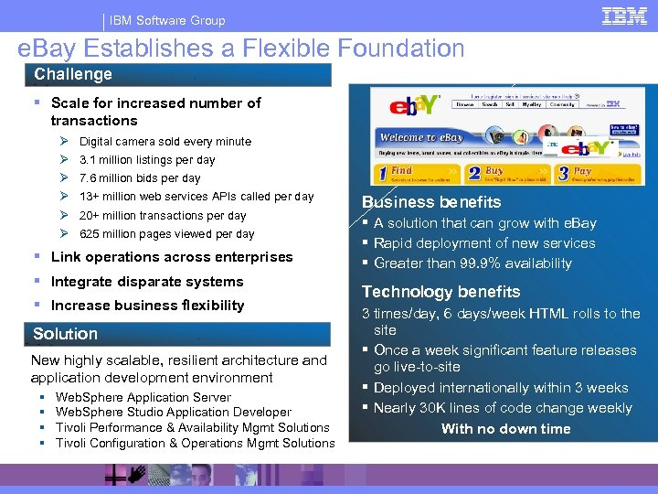 IBM Software Group e. Bay Establishes a Flexible Foundation Challenge § Scale for increased