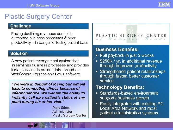 IBM Software Group Plastic Surgery Center Challenge Facing declining revenues due to its outmoded