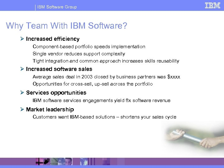IBM Software Group Why Team With IBM Software? Ø Increased efficiency Component-based portfolio speeds