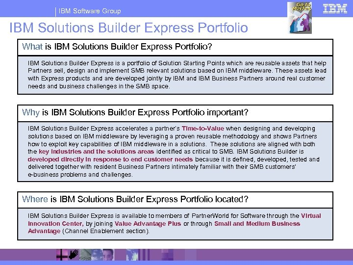 IBM Software Group IBM Solutions Builder Express Portfolio What is IBM Solutions Builder Express