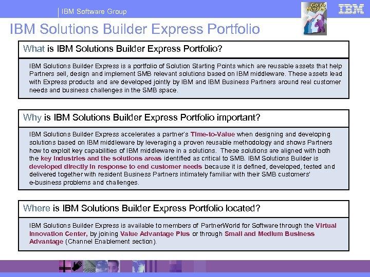 IBM Software Group IBM Solutions Builder Express Portfolio What is IBM Solutions Builder Express