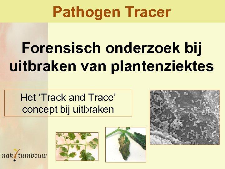 Pathogen Tracer Forensisch onderzoek bij uitbraken van plantenziektes Het 'Track and Trace' concept bij
