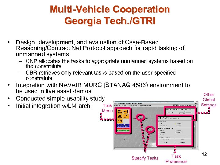 Multi-Vehicle Cooperation Georgia Tech. /GTRI • Design, development, and evaluation of Case-Based Reasoning/Contract Net