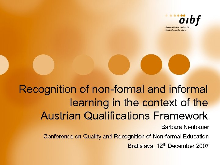 Recognition of non-formal and informal learning in the context of the Austrian Qualifications Framework