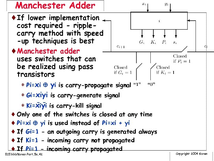 Manchester Adder ¨If lower implementation cost required - ripplecarry method with speed -up techniques