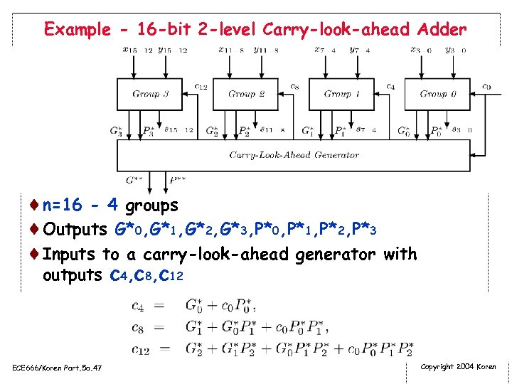 Example - 16 -bit 2 -level Carry-look-ahead Adder ¨n=16 - 4 groups ¨Outputs G*0,