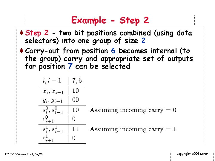 Example - Step 2 ¨Step 2 - two bit positions combined (using data selectors)