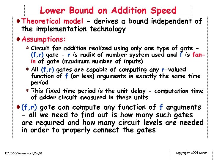 Lower Bound on Addition Speed ¨Theoretical model - derives a bound independent of the