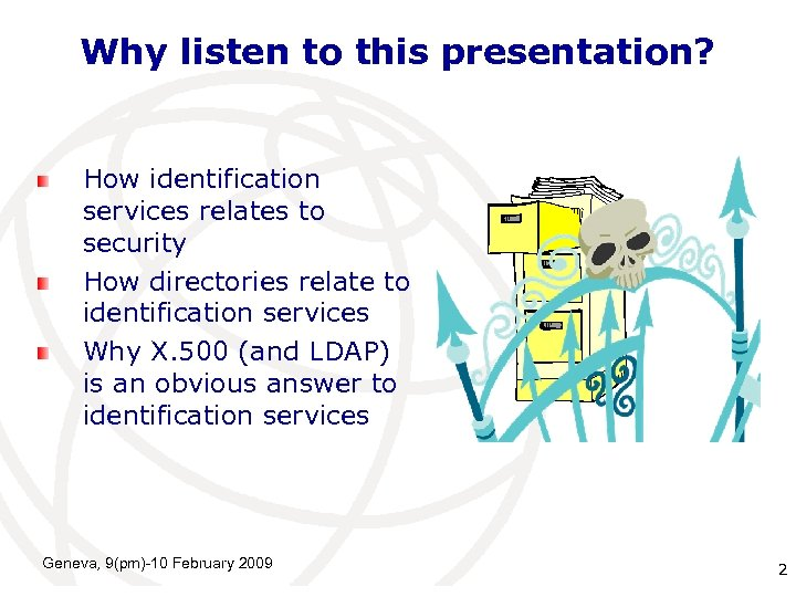 Why listen to this presentation? How identification services relates to security How directories relate