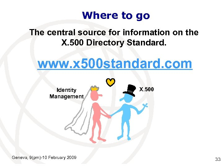 Where to go The central source for information on the X. 500 Directory Standard.