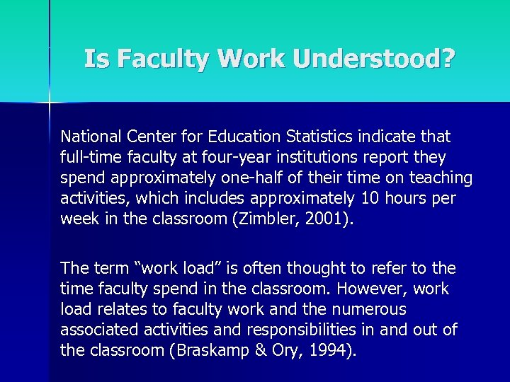 Is Faculty Work Understood? National Center for Education Statistics indicate that full-time faculty at