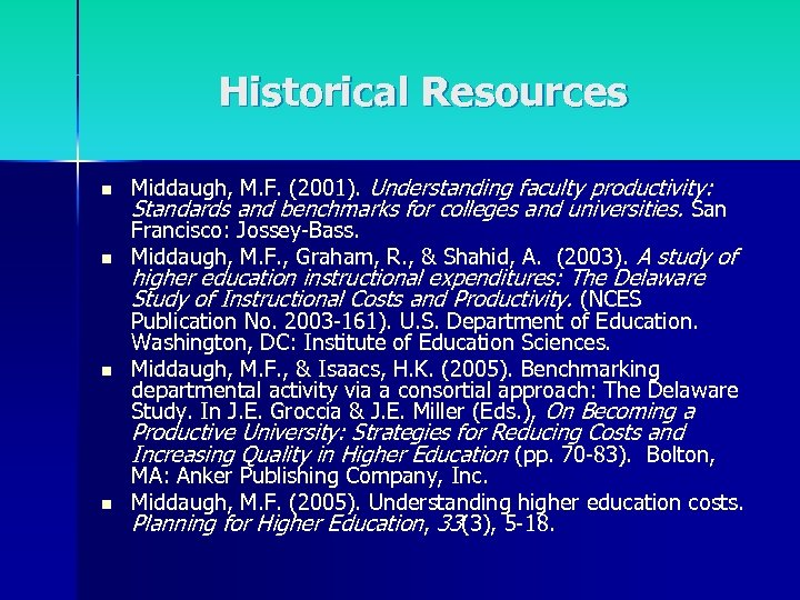 Historical Resources n n n Middaugh, M. F. (2001). Understanding faculty productivity: Standards and