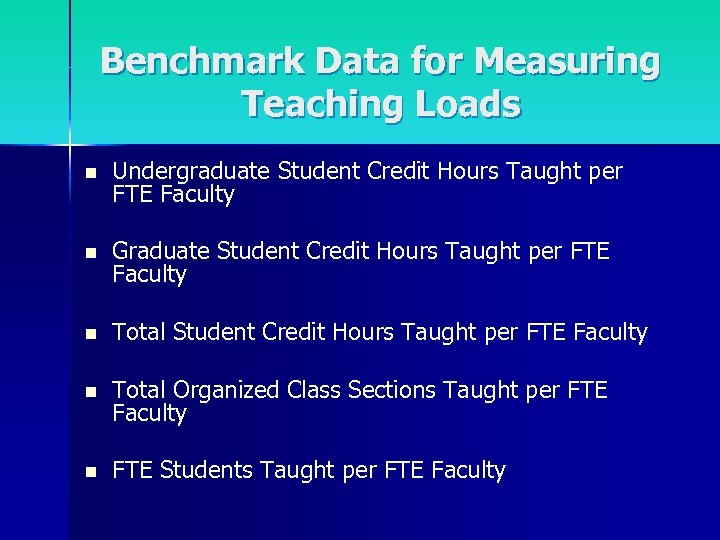 Benchmark Data for Measuring Teaching Loads n Undergraduate Student Credit Hours Taught per FTE