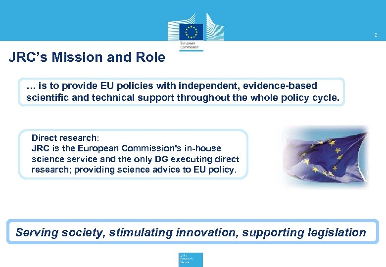 2 JRC's Mission and Role … is to provide EU policies with independent, evidence-based