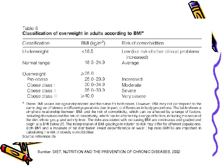 Sumber: DIET, NUTRITION AND THE PREVENTION OF CHRONIC DISEASES, 2002