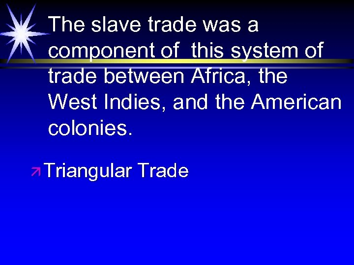 The slave trade was a component of this system of trade between Africa, the