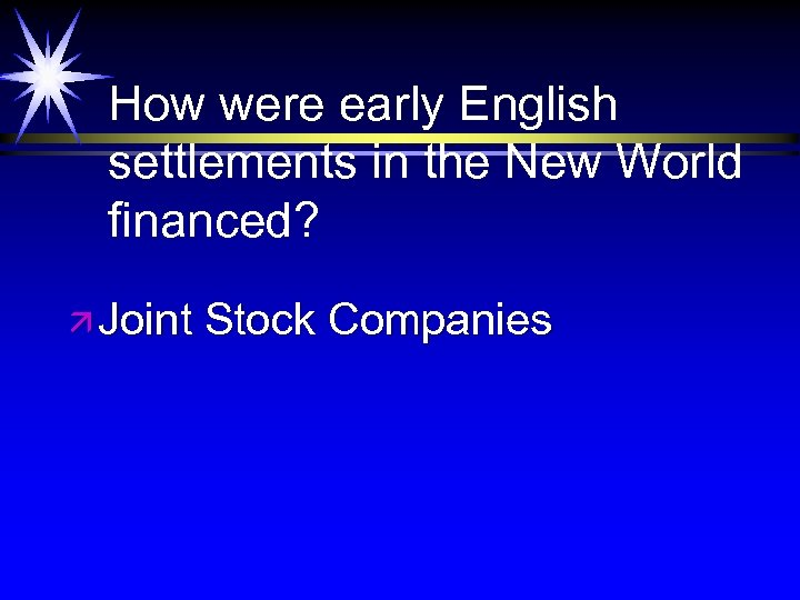 How were early English settlements in the New World financed? ä Joint Stock Companies