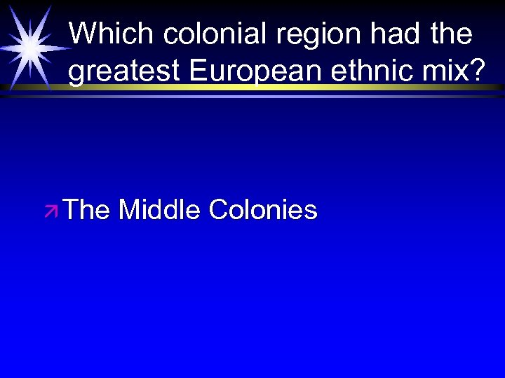 Which colonial region had the greatest European ethnic mix? ä The Middle Colonies