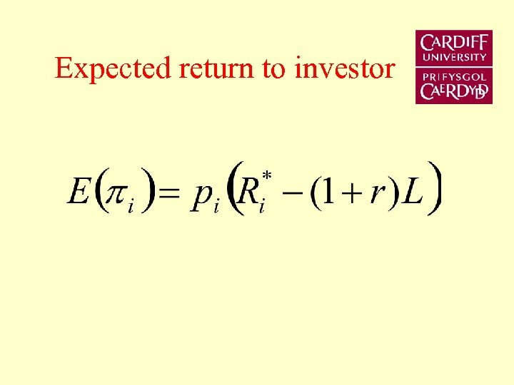 Expected return to investor