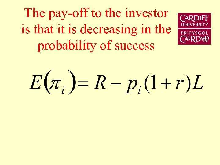 The pay-off to the investor is that it is decreasing in the probability of