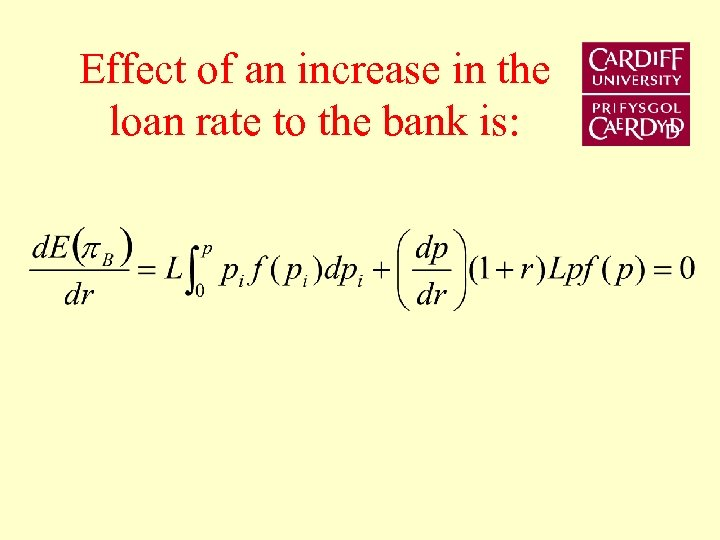 Effect of an increase in the loan rate to the bank is: