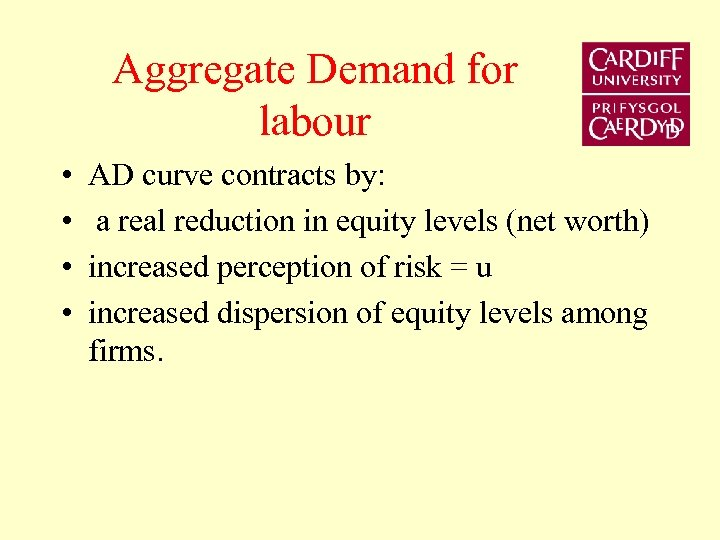 Aggregate Demand for labour • • AD curve contracts by: a real reduction in