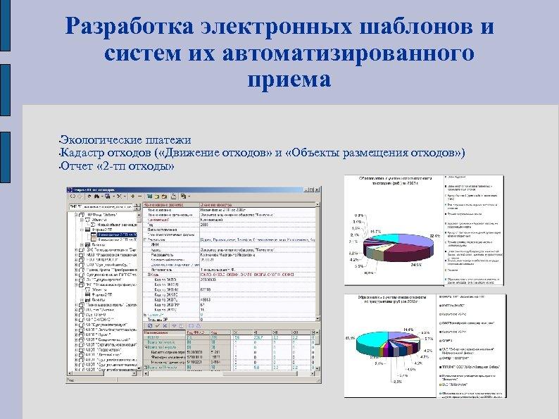Разработка электронных шаблонов и систем их автоматизированного приема Экологические платежи • Кадастр отходов (