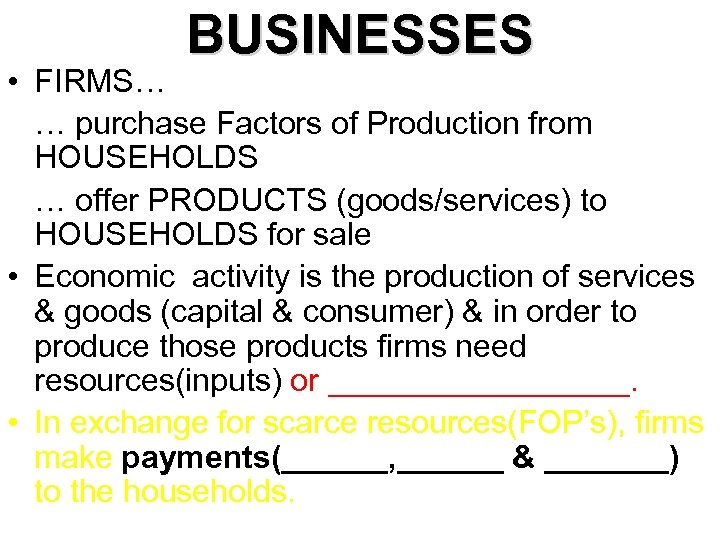 BUSINESSES • FIRMS… … purchase Factors of Production from HOUSEHOLDS … offer PRODUCTS (goods/services)