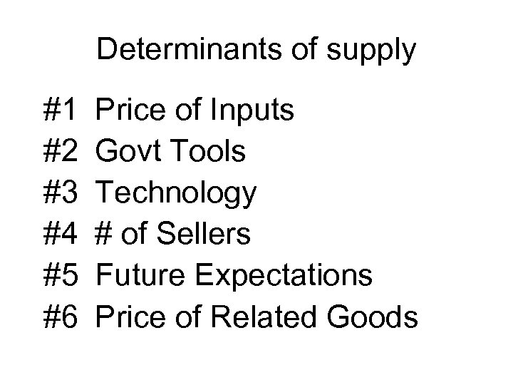 Determinants of supply #1 #2 #3 #4 #5 #6 Price of Inputs Govt Tools