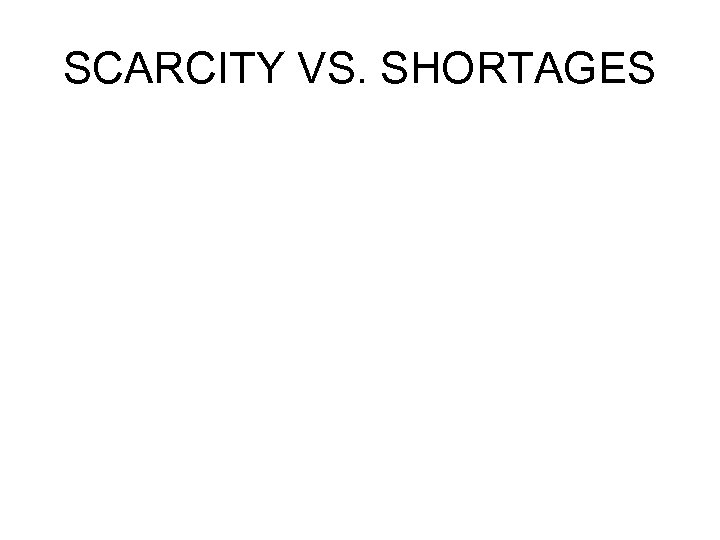 SCARCITY VS. SHORTAGES