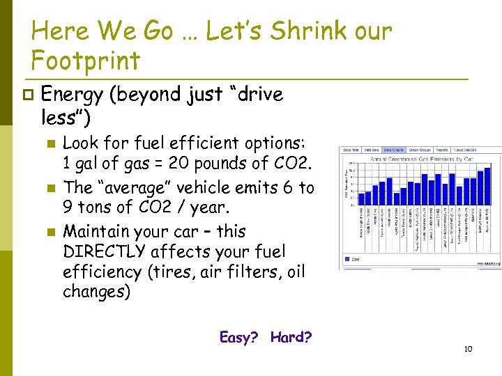 """Here We Go … Let's Shrink our Footprint p Energy (beyond just """"drive less"""")"""