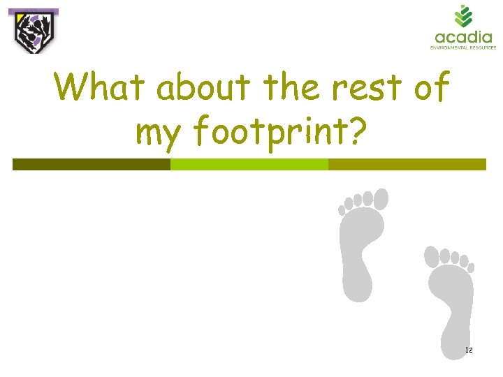 What about the rest of my footprint? 12